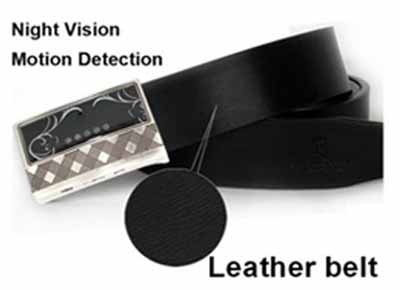 Spy Night Vision Leather Belt Hidden Camera